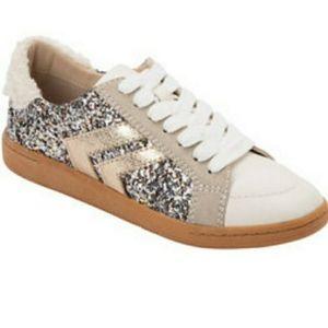 Dolce Vita, neil plush, lace up sneaker, glitter